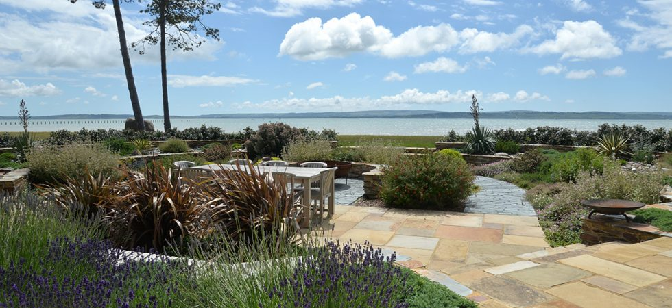 Garden beside the sea, the Solent, New Forest