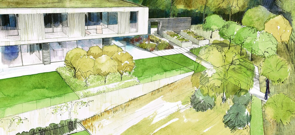Garden for modern house with view, Hampshire